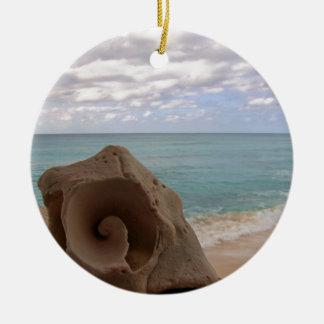 Tropical Christmas Beach Seashell Christmas Ornament
