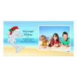Tropical Christmas Dolphin Family Photo Card. Personalized Photo Card