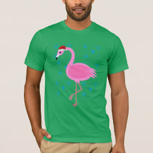 32212a0e4ca5c Tropical Christmas Flamingo Santa Claus T-Shirt .