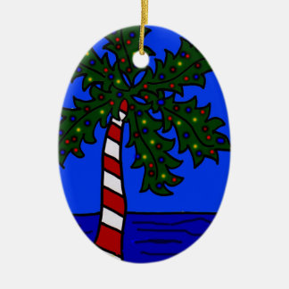 Tropical Christmas Palm Ceramic Oval Decoration