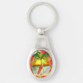 Tropical Christmas Palm Tree Key Ring