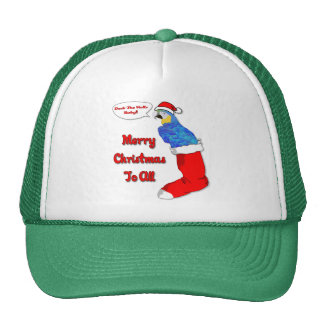 Tropical Christmas Parrot Trucker Hat