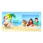 Tropical Christmas Santa Family Photo Card. Customised Photo Card
