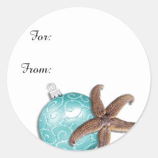 Tropical Christmas Starfish Gift Stickers