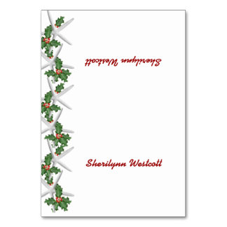 Tropical Christmas Tented Place Cards With Name