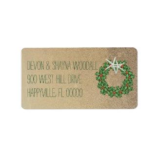Tropical Christmas Wreath Starfish Return Address Label