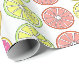 Tropical Citrus Fruit Grapefruit Lemon Lime Orange Wrapping Paper