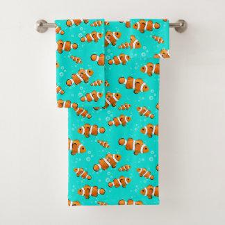 Tropical Clownfish & Bubbles Pattern Bath Towel Set