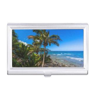 Tropical coastline business card holder