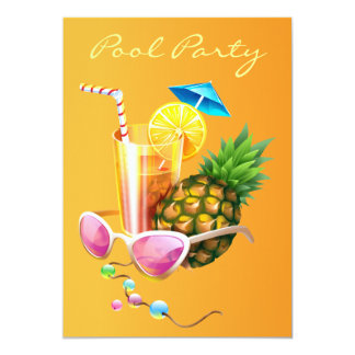 Tropical Cocktail Pool Party 13 Cm X 18 Cm Invitation Card