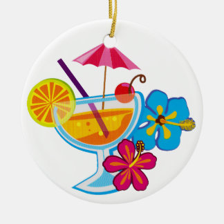 Tropical Cocktail Round Ceramic Decoration