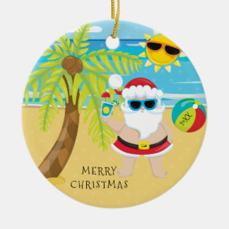 Tropical Cocktail Santa Hawaiian Christmas Round Ceramic Decoration