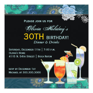 Tropical Cocktails 30th Birthday Party Card