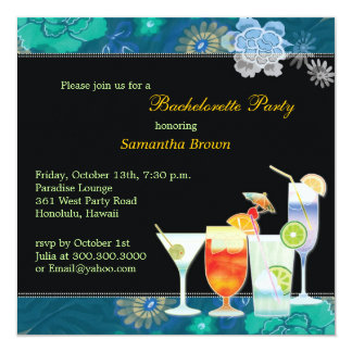 Tropical Cocktails Fun Bachelorette Party 13 Cm X 13 Cm Square Invitation Card
