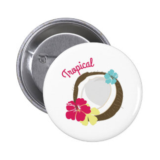 Tropical Coconut Pinback Button