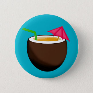 Tropical Coconut Drink 6 Cm Round Badge