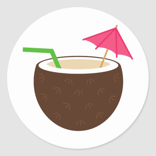 Tropical Coconut Drink Classic Round Sticker