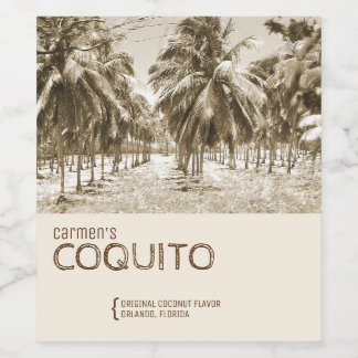 Tropical Coconut Palm Tree for Coquito Wine Label