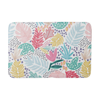 Tropical Collage Colourful Patterned Bathmat