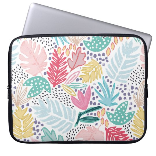Tropical Collage Cutout Shapes Laptop Sleeve