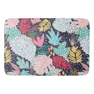 Tropical Collage Navy Pattern Bathmat