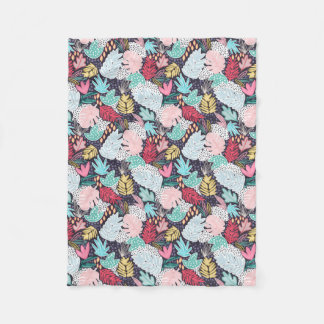 Tropical Collage Navy Pattern Fleece Blanket