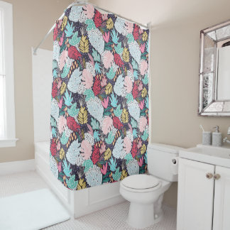 Tropical Collage Navy Pattern Shower Curtain