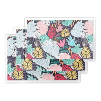 Tropical Collage Navy Pattern Vanity Trays