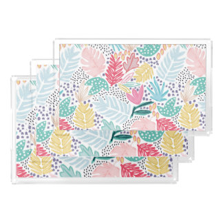 Tropical Collage White Pattern Vanity Tray Set