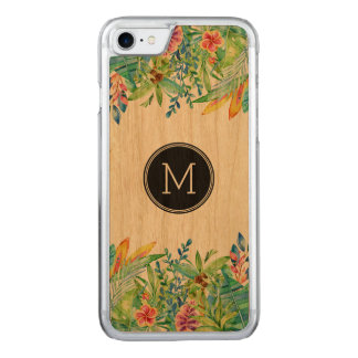 Tropical colorful floral design carved iPhone 8/7 case