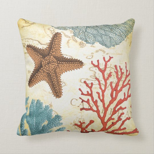 Tropical Colourful Caribbean Starfish and Coral Throw Pillow