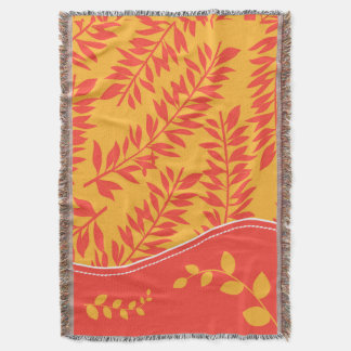 Tropical Coral and Golden Yellow Leafy Stems Throw Blanket