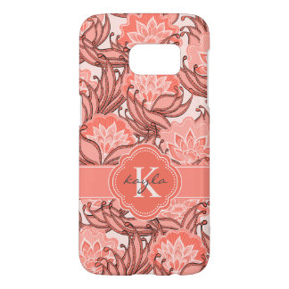 Tropical Coral Floral Pattern with Monogram