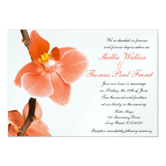 Tropical Coral Orchid Wedding Response Card