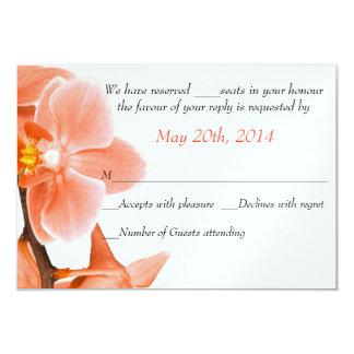Tropical Coral Orchid Wedding Response Card 9 Cm X 13 Cm Invitation Card