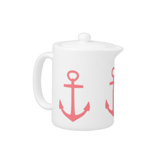 Tropical Coral Pink Anchors on White