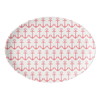 Tropical Coral Pink Anchors on White Porcelain Serving Platter