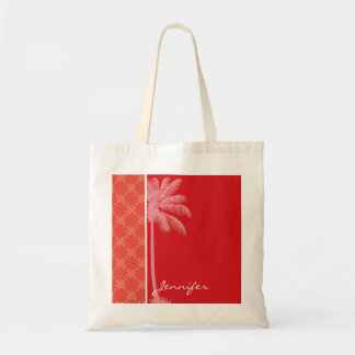 Tropical Coral & Red Swirl Budget Tote Bag