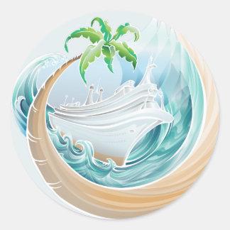 Tropical Cruise Classic Round Sticker