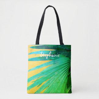 tropical custom personalized tote palm leaf design