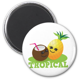 TROPICAL cute Kawaii Coconut and pineapple 6 Cm Round Magnet