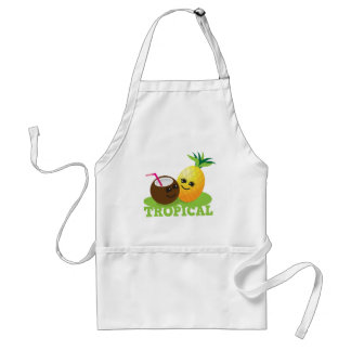 TROPICAL cute Kawaii Coconut and pineapple Standard Apron