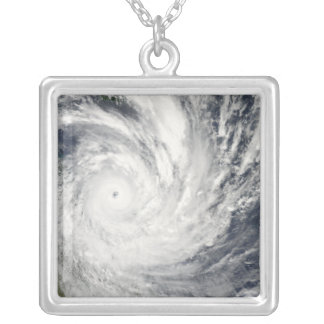Tropical Cyclone Yasi over Australia Silver Plated Necklace