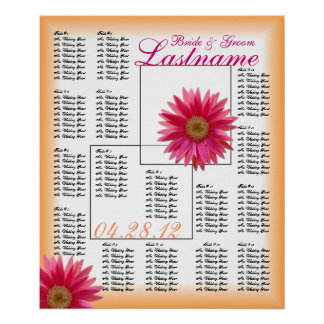 Tropical Daisy Wedding Guest Seating Chart Posters
