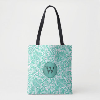 Tropical Damask Pattern with Monogram Tote Bag