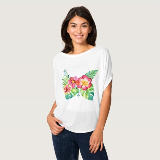 Tropical Design Of Flowers T-Shirt