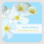 Tropical Design Personalised Square Favour Sticker