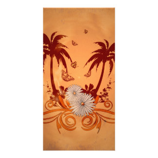 Tropical design photo card template