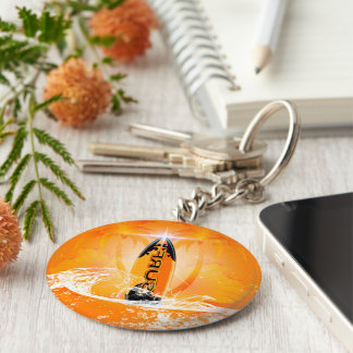 Tropical design, surfboard with palm key ring