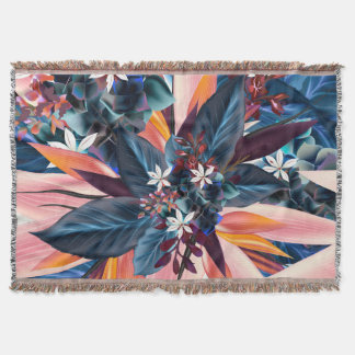 Tropical design with blue plants and flowers throw blanket